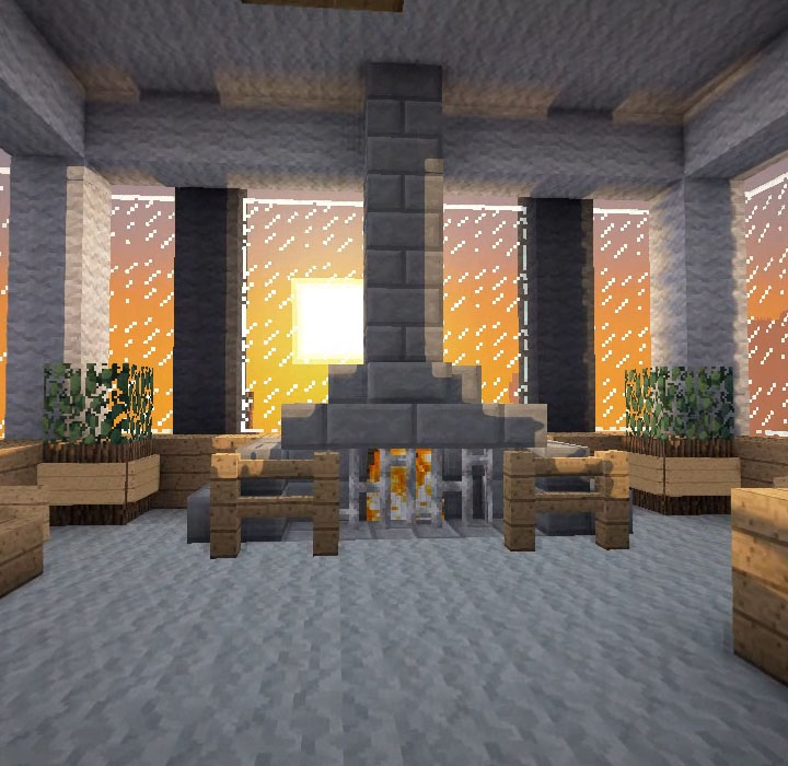 Minecraft Furniture Fireplaces A Central Fireplace