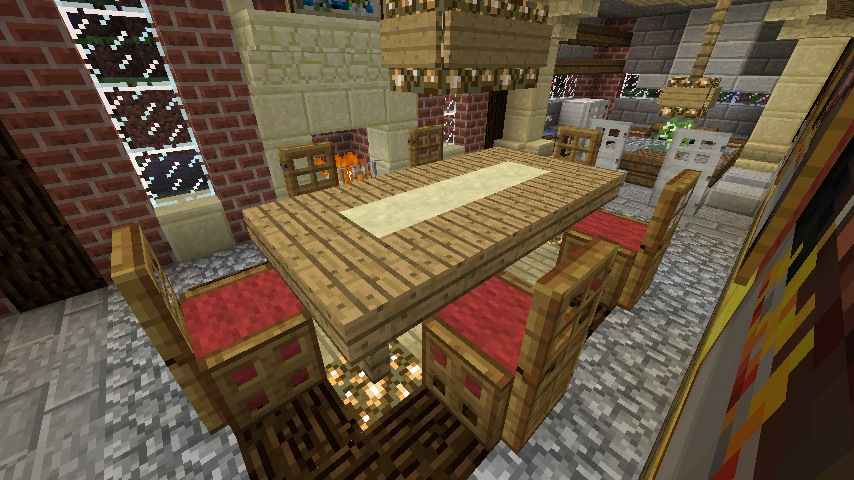 Minecraft furniture chairs for Minecraft dining room designs
